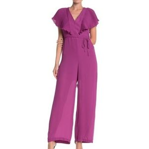 Free Press | Purple Pleated Tie Back Jumpsuit NWT